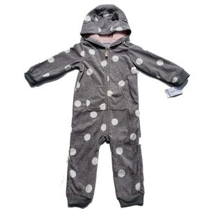 Carters Bunting Size 24 Months Gray Polka Dot Hood